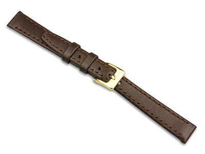 Brown Calf Stitched Watch Strap    12mm Genuine Leather