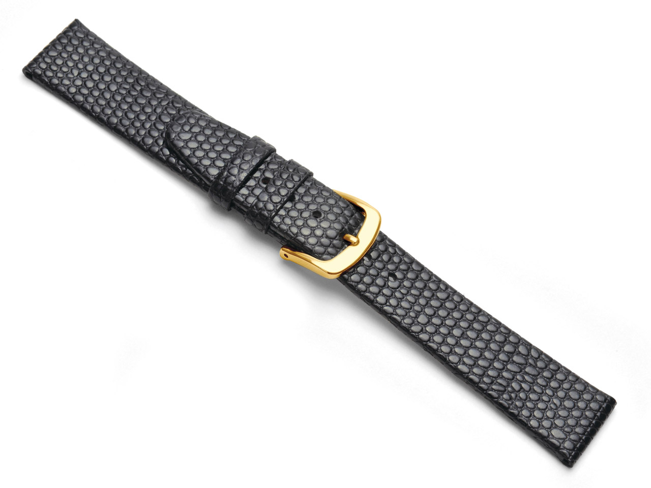 Black Lizard Grain Strap Watch     Strap 16mm Genuine Leather