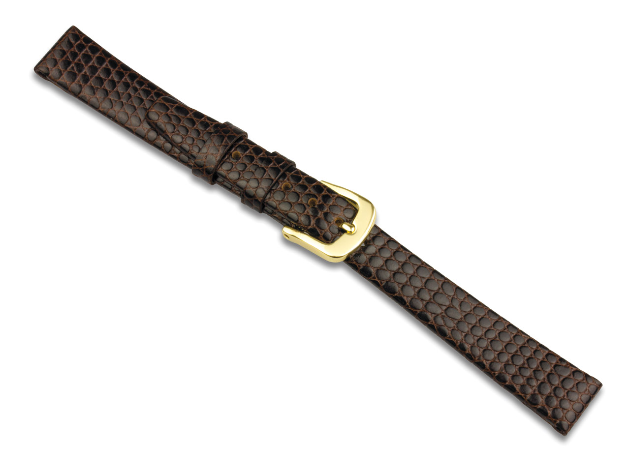 Brown Lizard Grain Strap Strap 12mm Genuine Leather