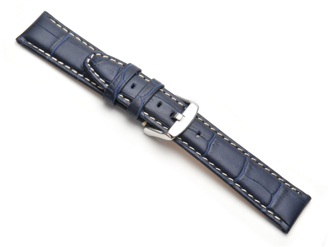 Blue Super Croc Grain Watch Strap  Nubuck Lining 20mm Genuine Leather