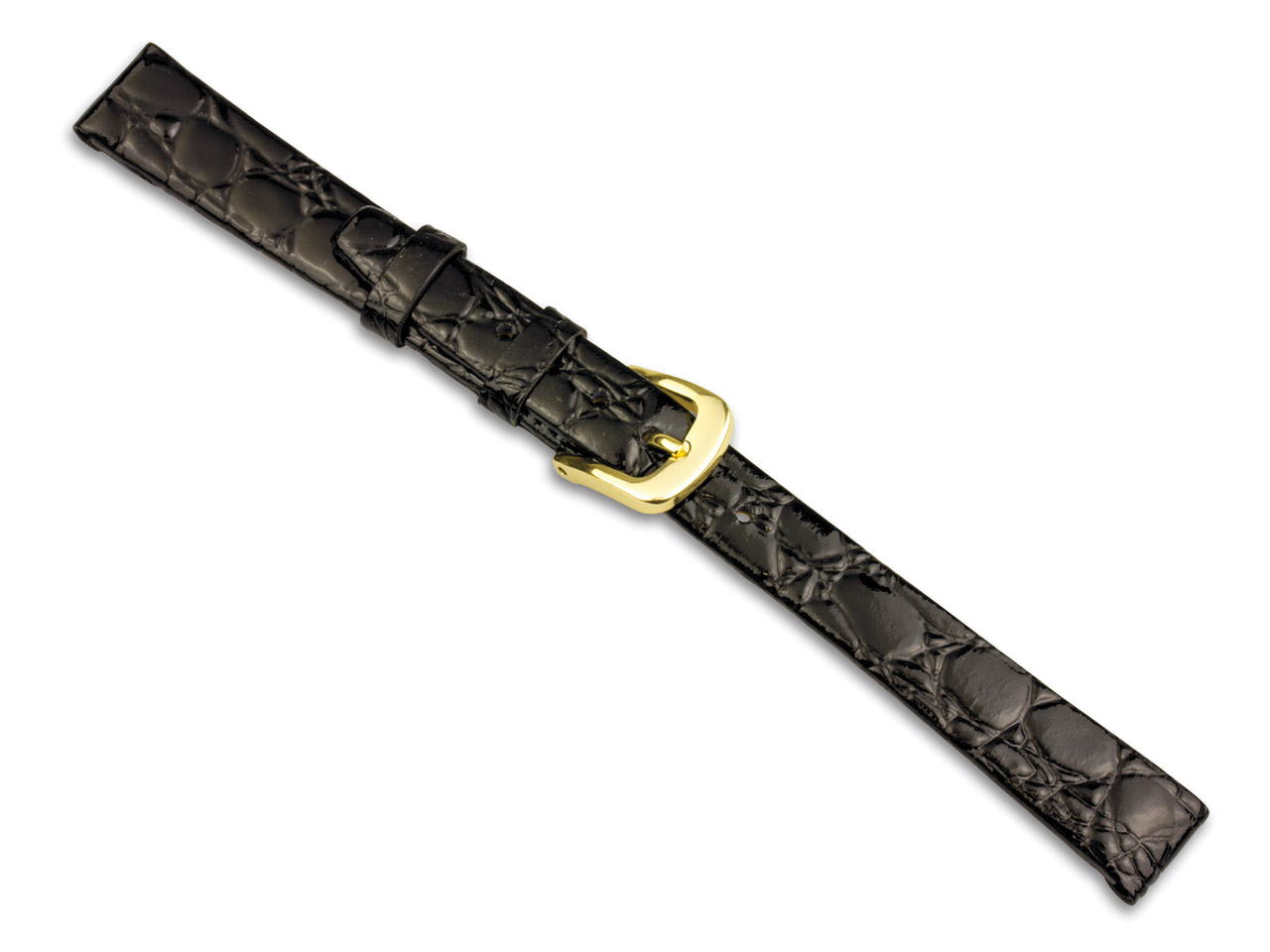 Black Croc Grain Watch Strap 18mm  Genuine Leather
