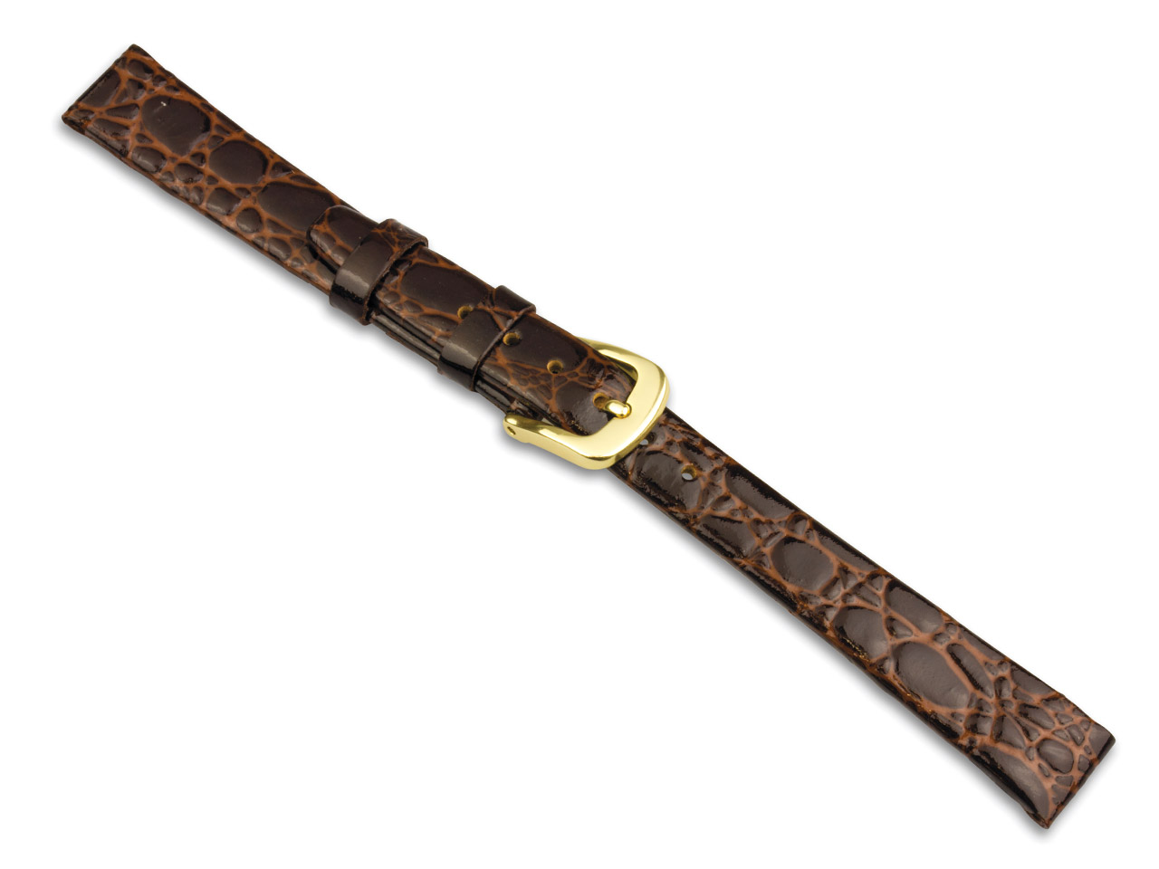 Brown Croc Grain Watch Strap 16mm  Genuine Leather