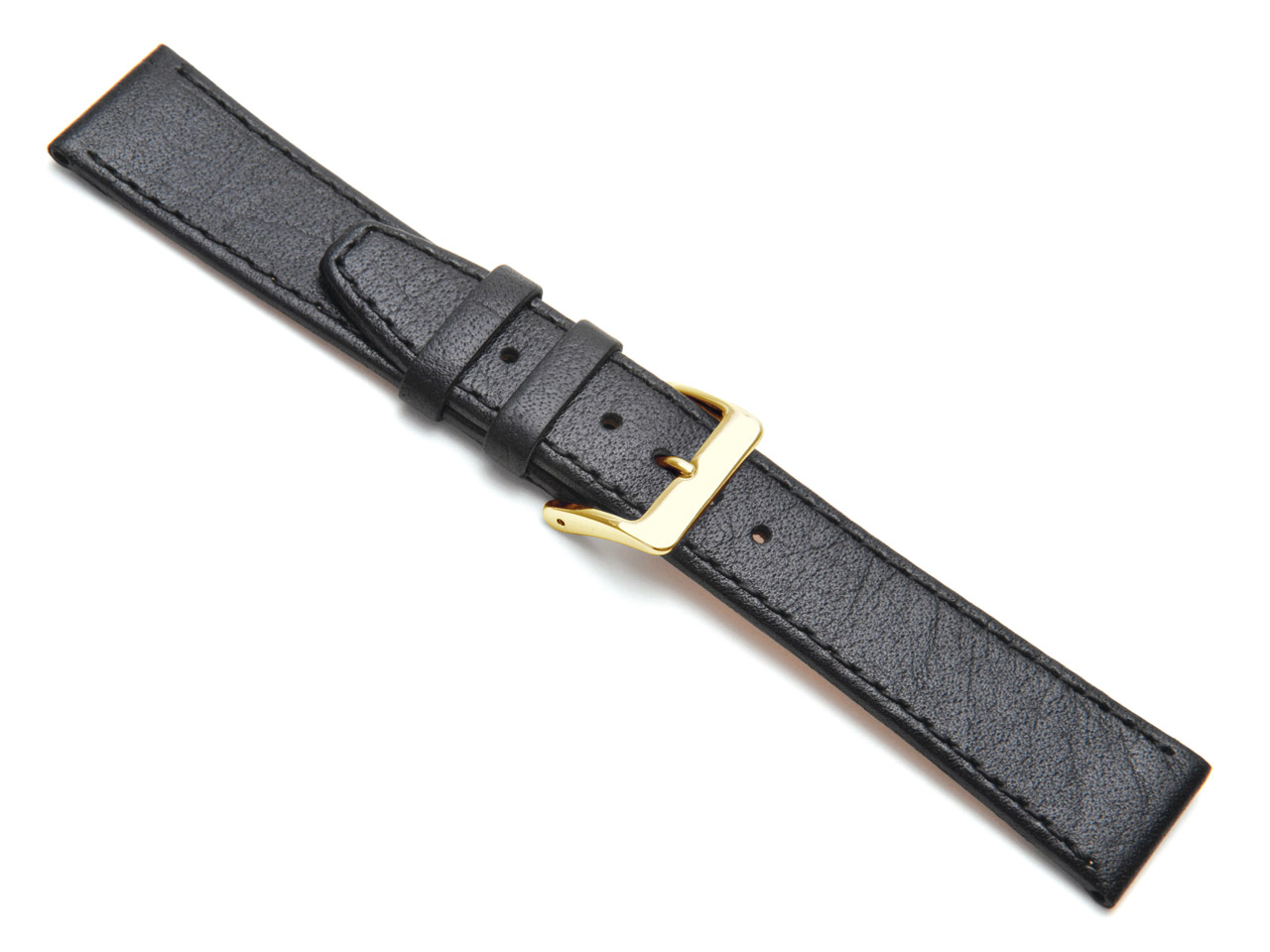 Black Buffalo Stitched Watch Strap 14mm Genuine Leather
