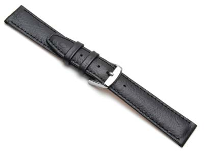 Black Calf Ostrich Grain Watch     Strap 12mm Genuine Leather