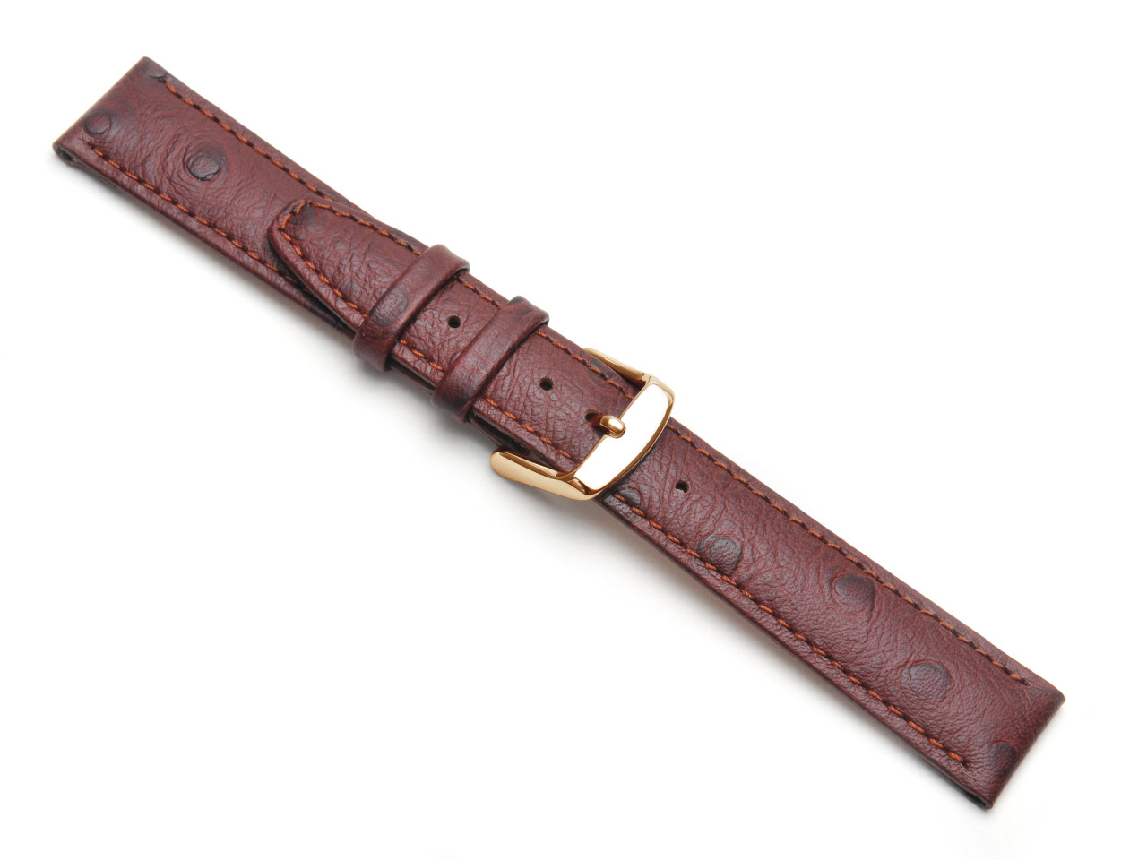 Brown Calf Ostrich Grain Watch     Strap 14mm Genuine Leather