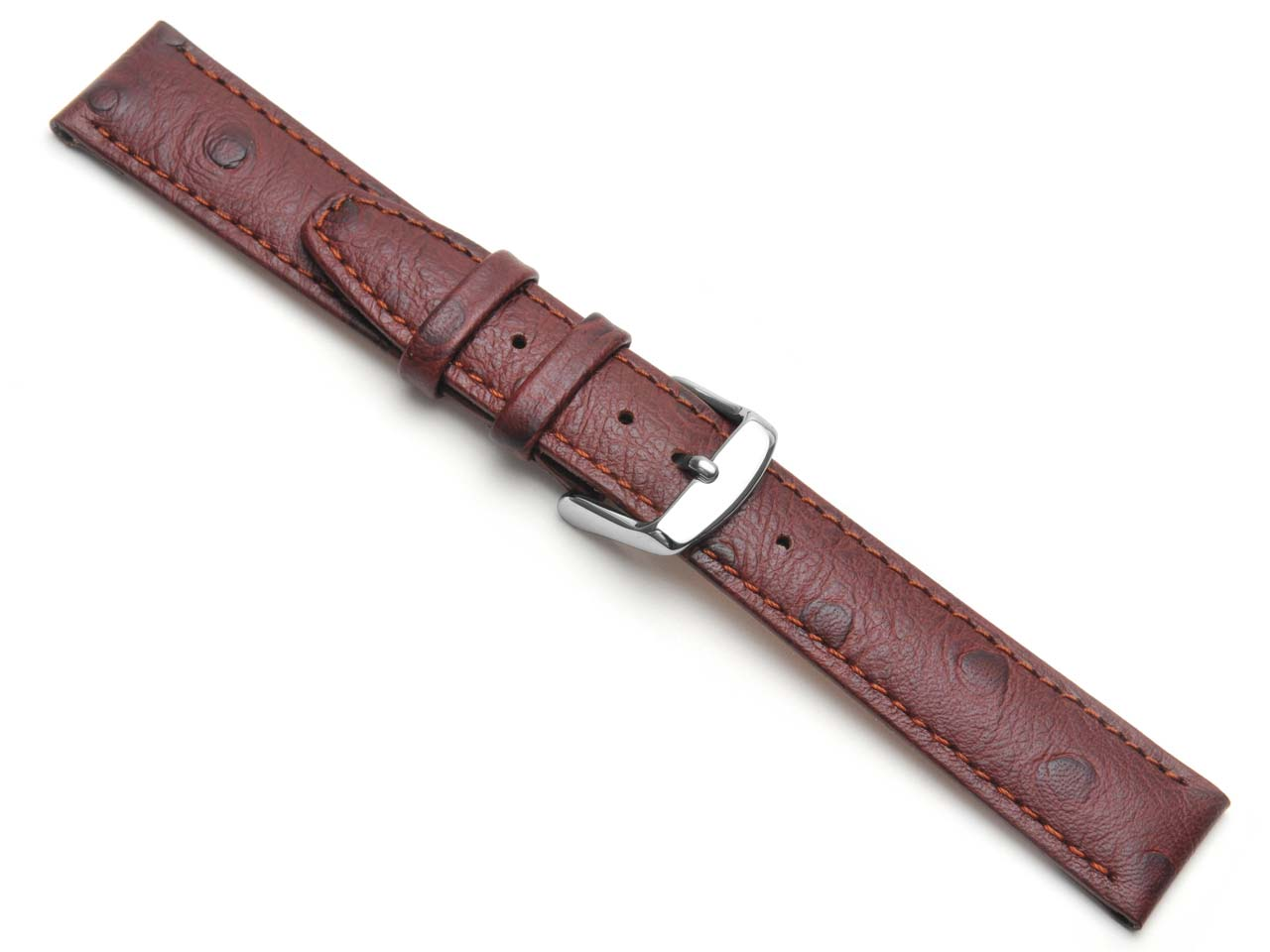 Brown Calf Ostrich Grain Watch     Strap 16mm Genuine Leather