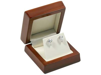 Wooden Stud Earring Box, Mahogany  Colour