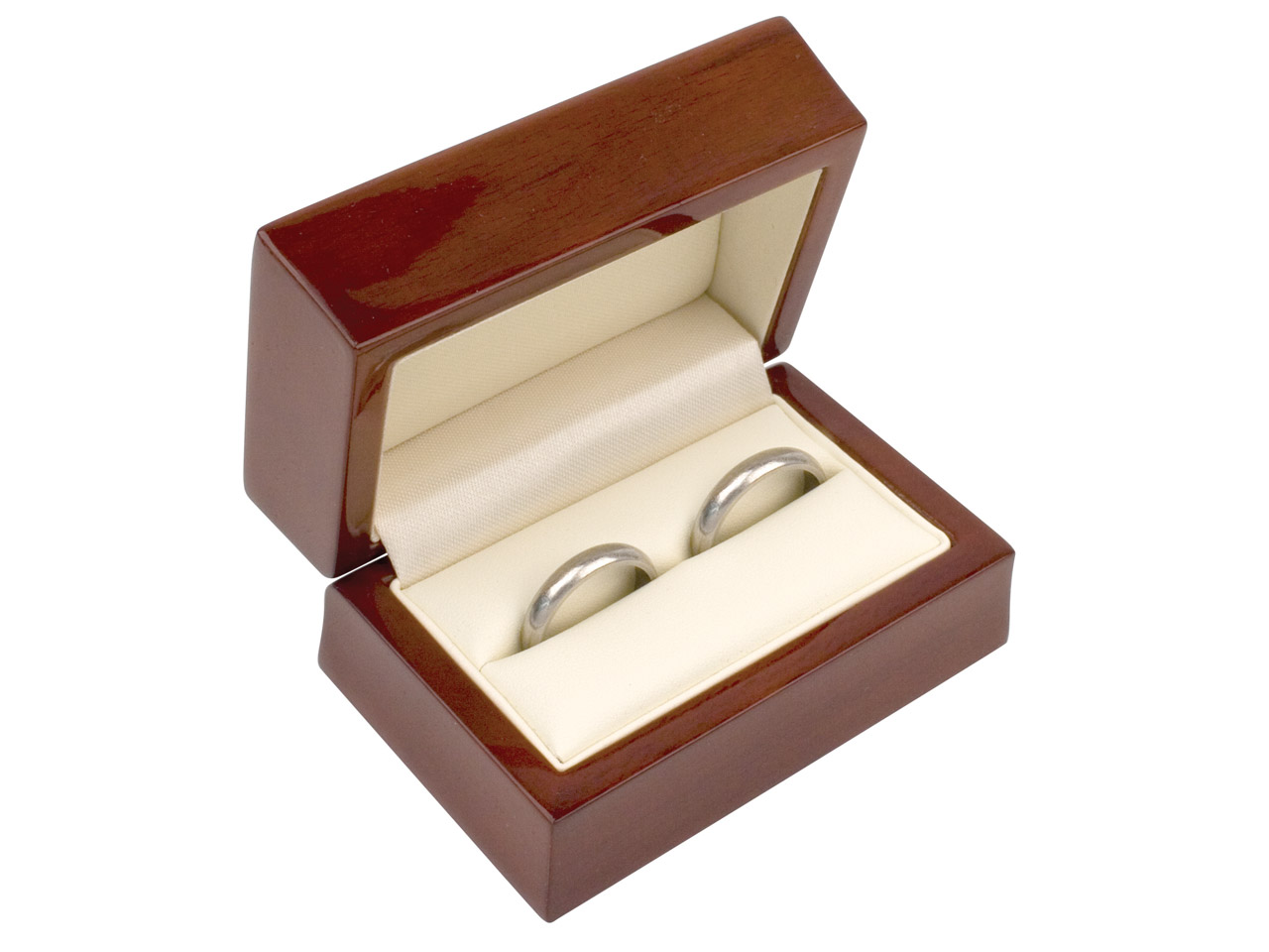 Wooden Double Ring Box , Mahogany  Colour