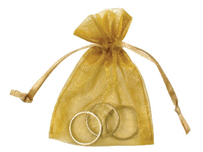 Pack Of Six Organza Bags Gold 7.6 X 10cm