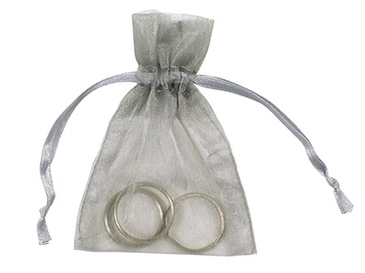 Pack Of Six Organza Bags, Silver , 7.6 X 10cm