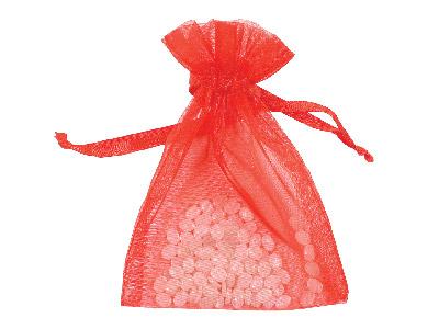 Pack Of Six Organza Bags Red 10 X 13.9cm
