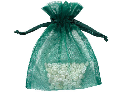 Pack Of Six Organza Bags, Green, 10 X 13.9cm