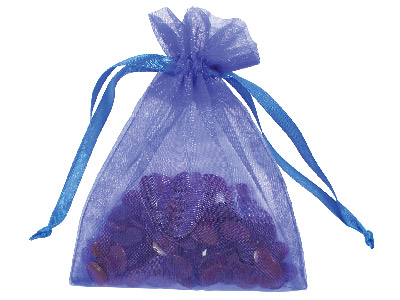 Pack Of Six Organza Bags Royal Blue 10 X 13.9cm