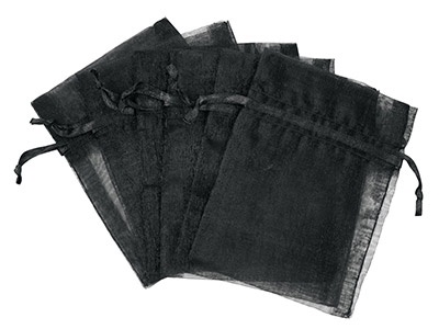 Pack Of Six Organza Bags Black 7.6 X 10cm