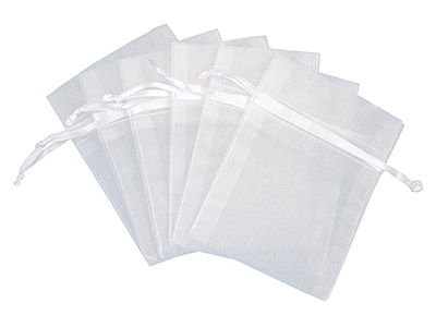 Pack Of Six Organza Bags White 7.6 X 10cm