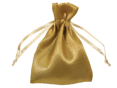 Pack Of Six Satin Pouches Gold 7.6 X 10cm