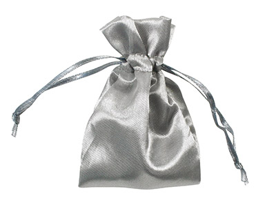 Pack Of Six Satin Pouches Silver 7.6 X 10cm