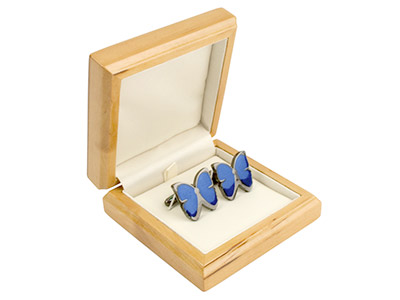 Wooden Cufflink Box, Maple Colour