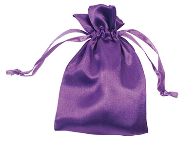 Pack Of Six Satin Pouch Purple 10 X 13.9cm