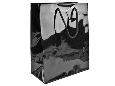 Black Gloss Gift Bag Medium       Pack of 5 215x160x90mm