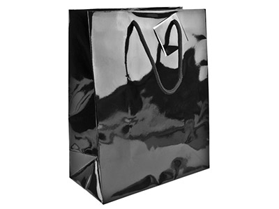Black Gloss Gift Bag Large        Pack of 5 255x205x100mm