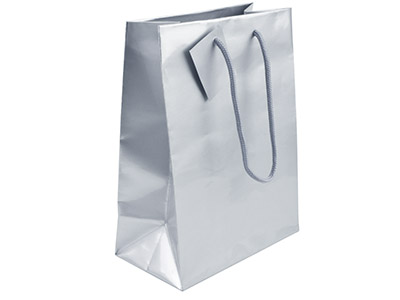 Silver Gloss Gift Bag Large       Pack of 5 255x205x100mm