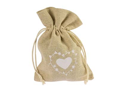 Jute Bag Small Pack of 10 Large   Heart