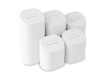 White Leatherette 5 Piece Ring Set