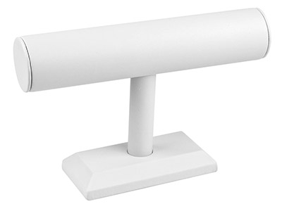 White Leatherette T-bar Bracelet Display Stand