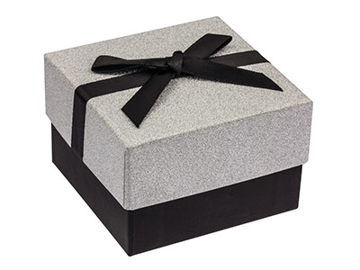 Silver Glitter Medium Universal Gift Box With Bow