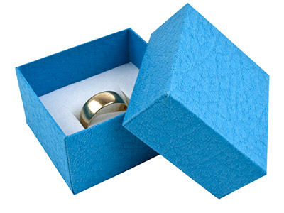 Blue Textured Card Ring Box