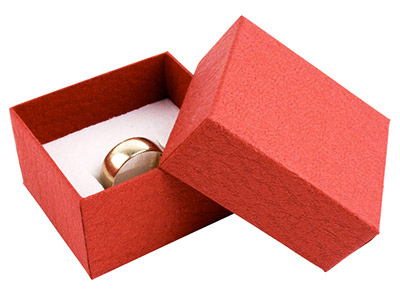 Red Textured Card Ring Box