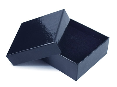 Black Gloss Card Earring Box With Interchangeable Black And White Interior