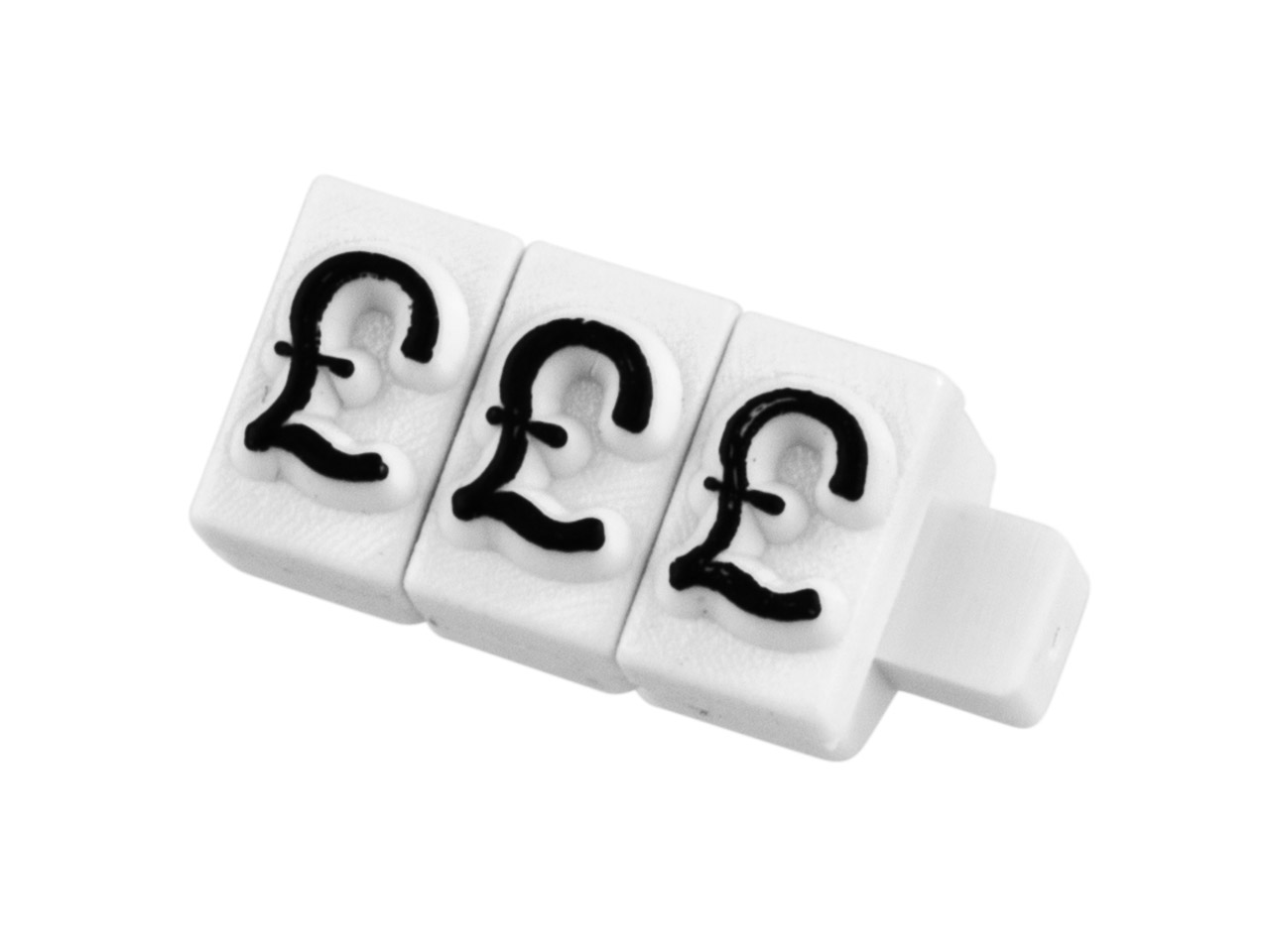 Pricing Block Cube Pack of 20 £ Set White And Black Small Font
