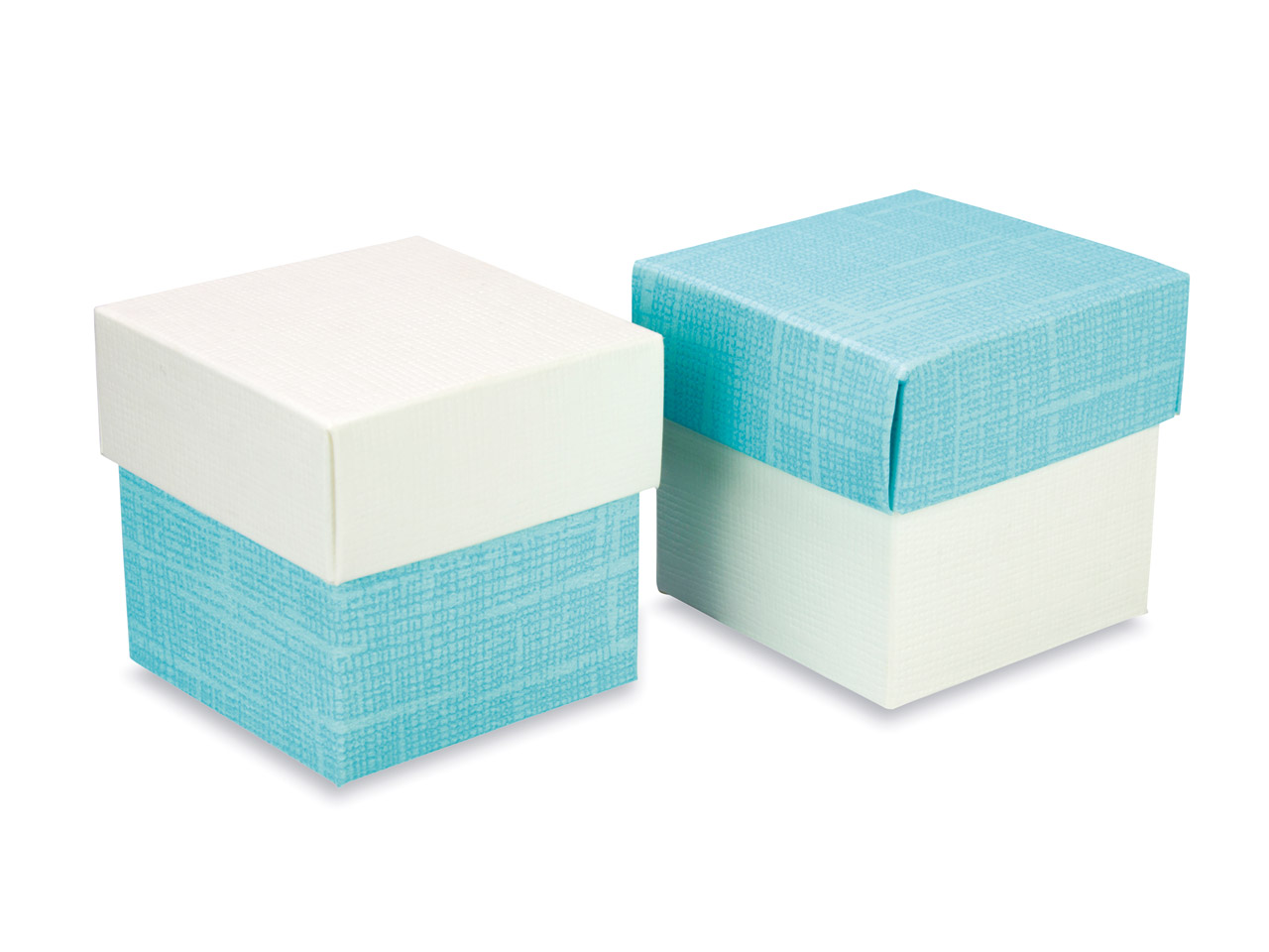 Flat Pack Square Box 2 Tone White  And Turquoise Pack of 10