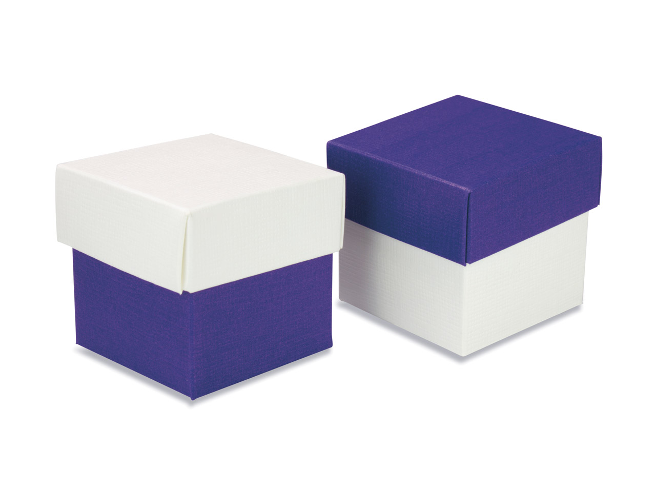 Flat Pack Square Box 2 Tone Purple And White Pack of 10