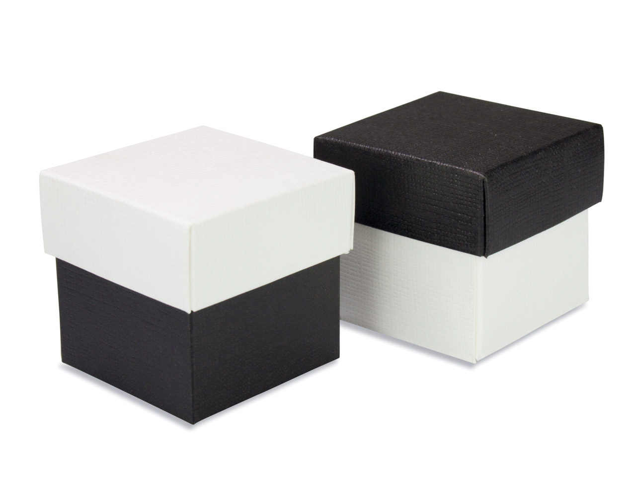 Flat Pack Square Box 2 Tone Black  And White Pack of 10