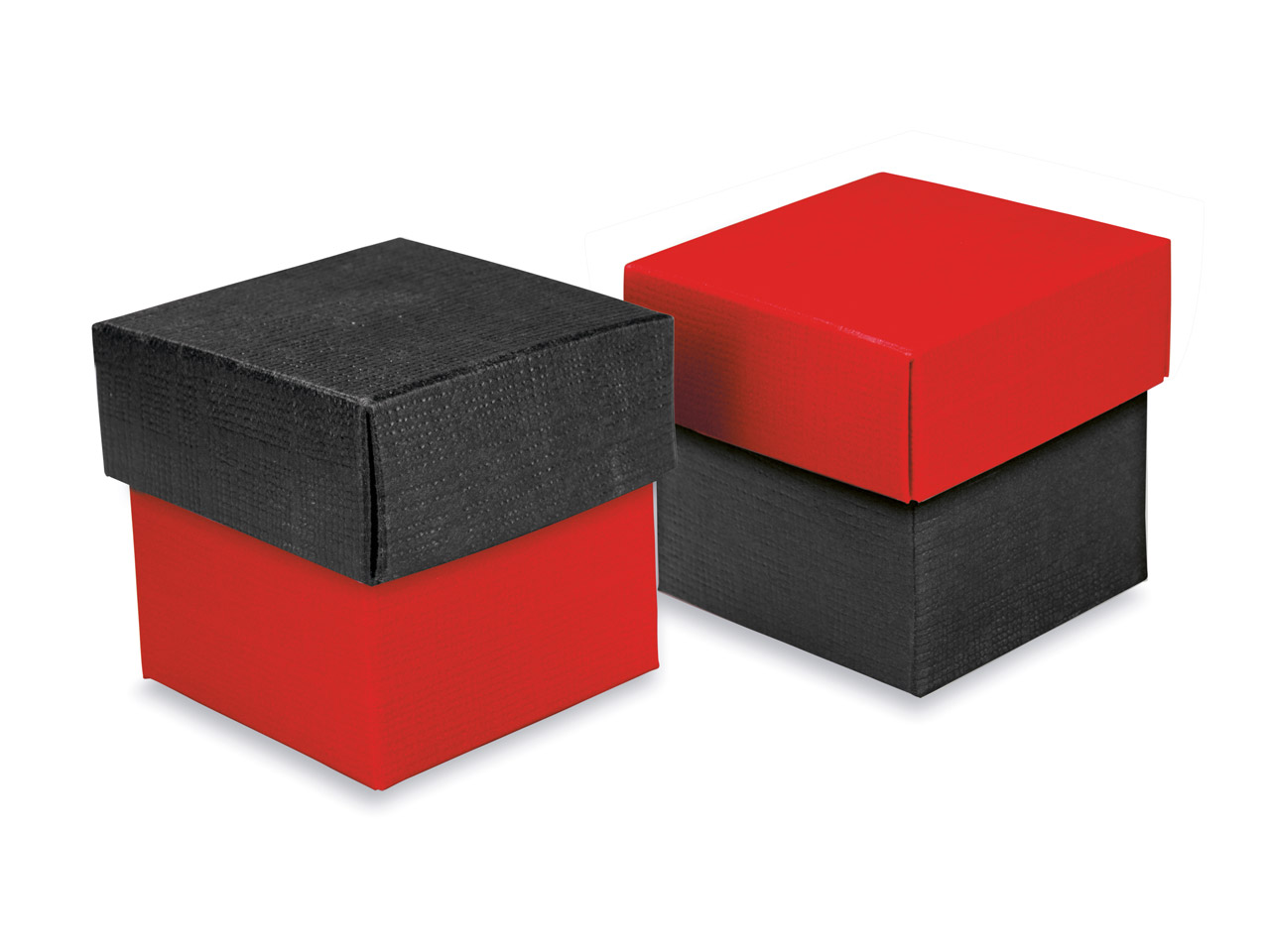 Flat Pack Square Box 2 Tone Black  And Red Pack of 10