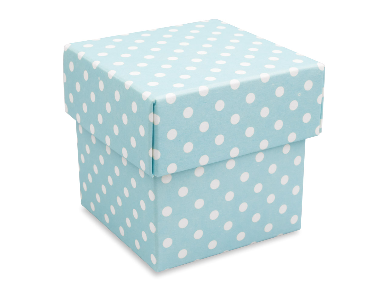 Flat Pack Square Box Blue Polka Dot Pack of 10