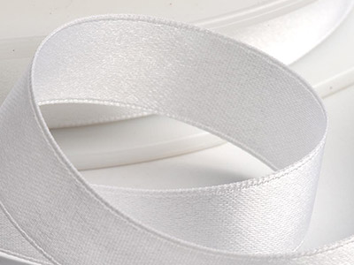 Satin Ribbon 10mm White 25m