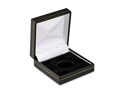 Black Leatherette Full Sovereign In Capsule Coin Box