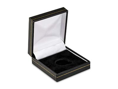 Black Leatherette Half Sovereign In Capsule Coin Box