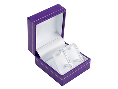 Purple Leatherette Stud Earring Box