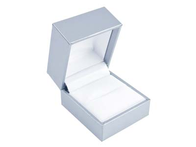 Silver Leatherette Ring Box