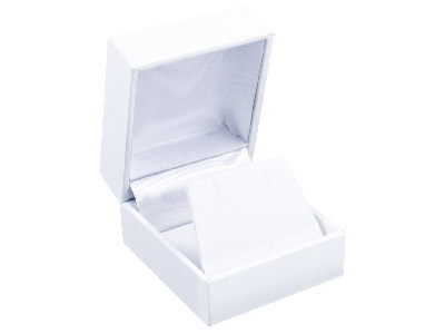 White Leatherette Stud Earring Box
