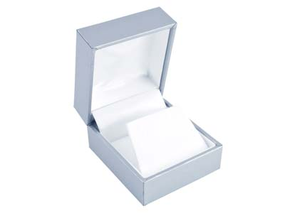 Silver Leatherette Stud Earring Box