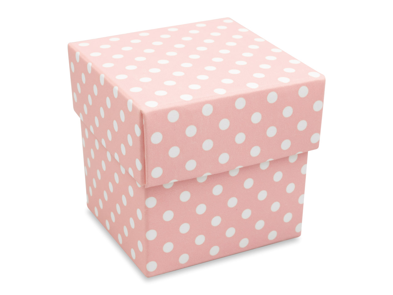 Flat Pack Square Box Pink Polka Dot Pack of 10