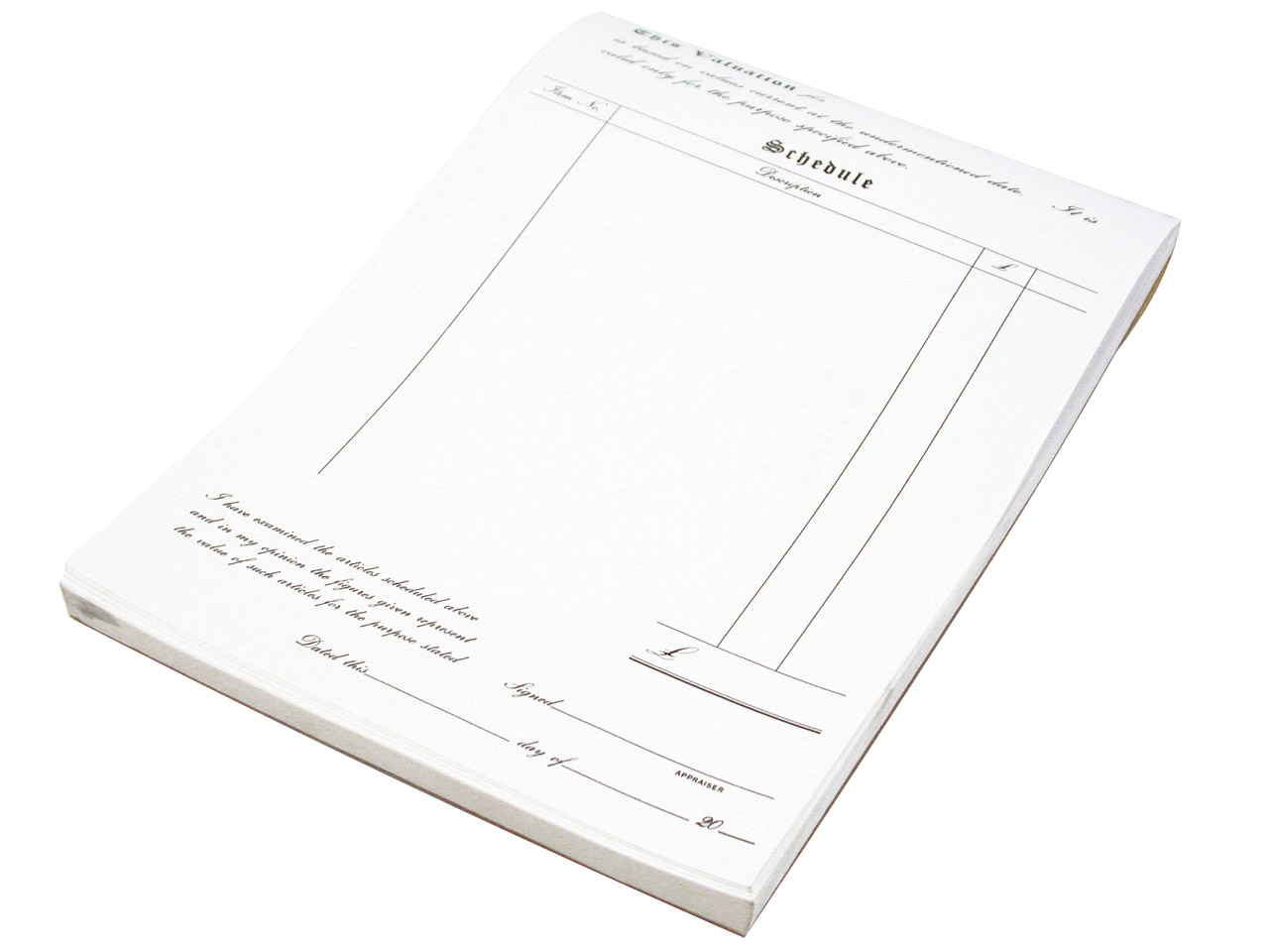 White Standard Valuation Pad