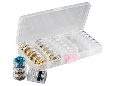 Set Of 25 Bead Storage Stack Jars  In A Clear Box