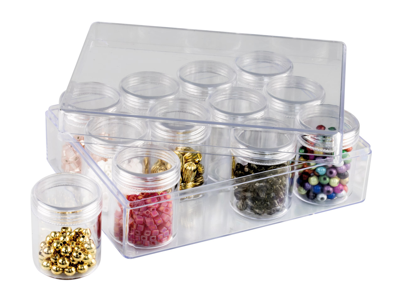 Clear Bead Storage Jar Set, 12     Large Jars In A Clear Box